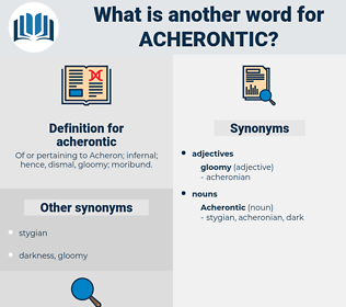 acherontic, synonym acherontic, another word for acherontic, words like acherontic, thesaurus acherontic
