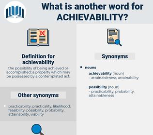 achievability, synonym achievability, another word for achievability, words like achievability, thesaurus achievability