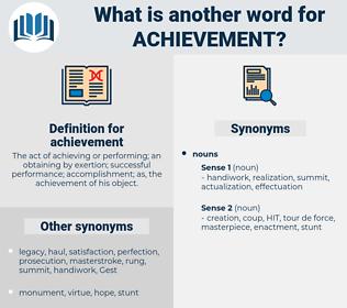 achievement, synonym achievement, another word for achievement, words like achievement, thesaurus achievement
