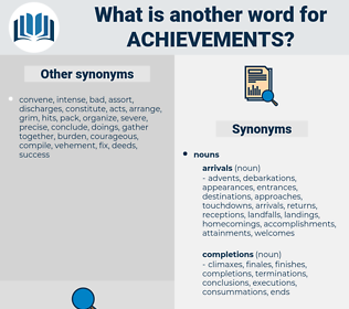 Achievements, synonym Achievements, another word for Achievements, words like Achievements, thesaurus Achievements