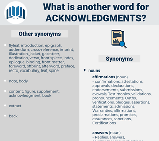 acknowledgments, synonym acknowledgments, another word for acknowledgments, words like acknowledgments, thesaurus acknowledgments