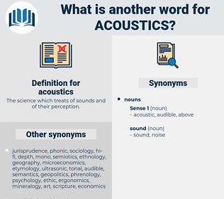 acoustics, synonym acoustics, another word for acoustics, words like acoustics, thesaurus acoustics