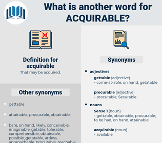 acquirable, synonym acquirable, another word for acquirable, words like acquirable, thesaurus acquirable