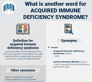 acquired immune deficiency syndrome, synonym acquired immune deficiency syndrome, another word for acquired immune deficiency syndrome, words like acquired immune deficiency syndrome, thesaurus acquired immune deficiency syndrome