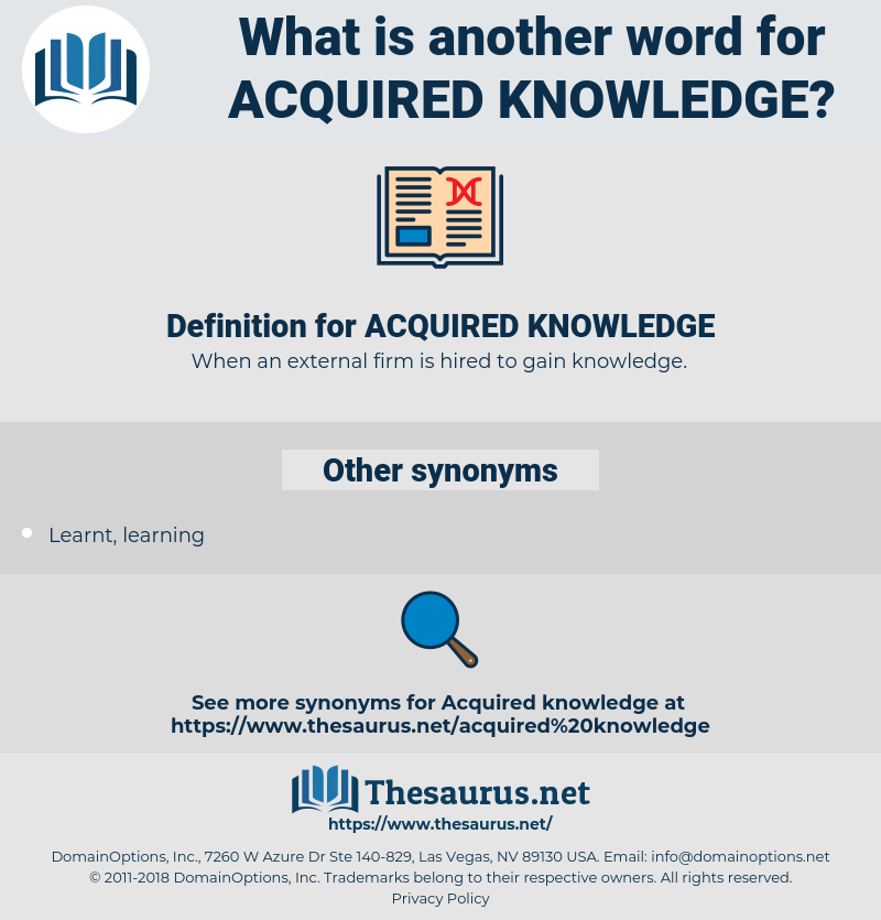 Synonyms For Acquired Knowledge Thesaurus Net