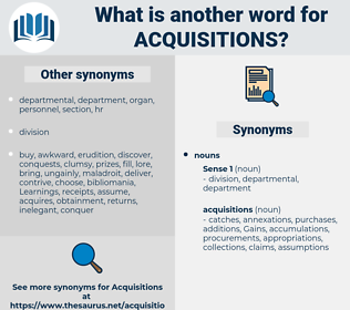 acquisitions, synonym acquisitions, another word for acquisitions, words like acquisitions, thesaurus acquisitions