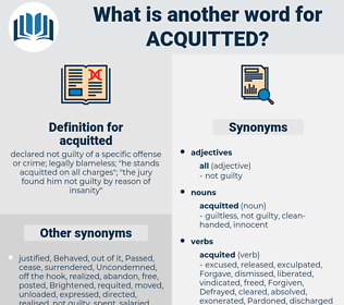acquitted, synonym acquitted, another word for acquitted, words like acquitted, thesaurus acquitted