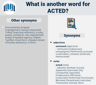 Acted, synonym Acted, another word for Acted, words like Acted, thesaurus Acted