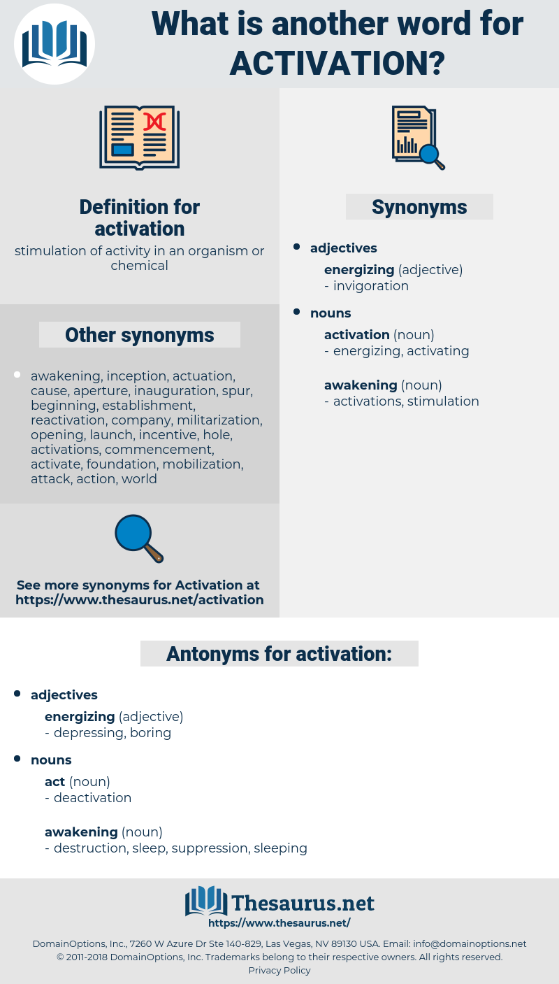 activation, synonym activation, another word for activation, words like activation, thesaurus activation