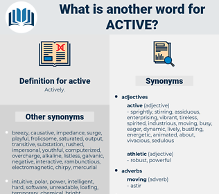active, synonym active, another word for active, words like active, thesaurus active
