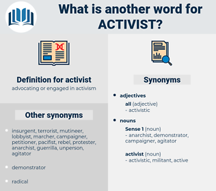 activist, synonym activist, another word for activist, words like activist, thesaurus activist