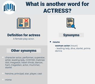 actress, synonym actress, another word for actress, words like actress, thesaurus actress