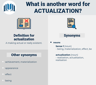 actualization, synonym actualization, another word for actualization, words like actualization, thesaurus actualization