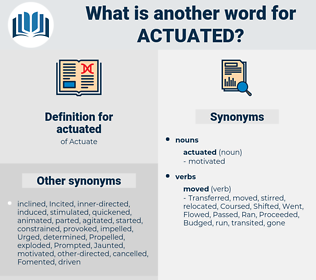 actuated, synonym actuated, another word for actuated, words like actuated, thesaurus actuated