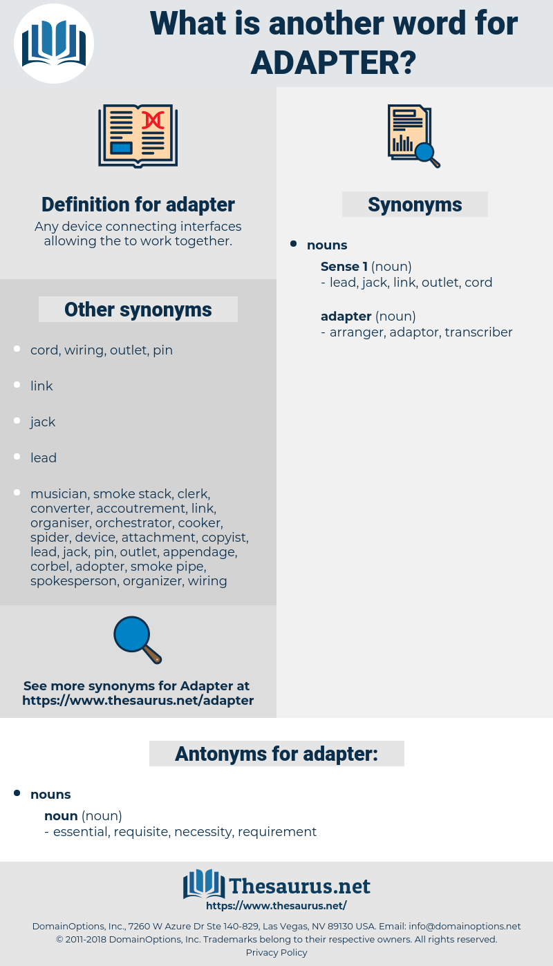 adapter, synonym adapter, another word for adapter, words like adapter, thesaurus adapter