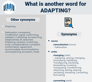 Adapting, synonym Adapting, another word for Adapting, words like Adapting, thesaurus Adapting