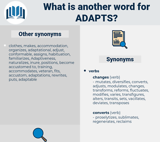 adapts, synonym adapts, another word for adapts, words like adapts, thesaurus adapts