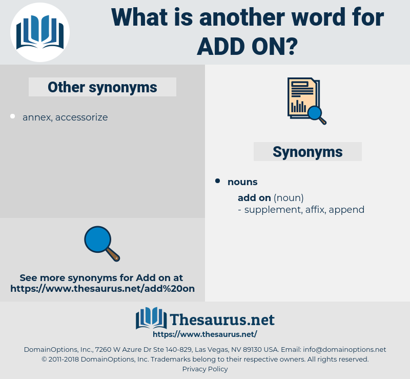 add on, synonym add on, another word for add on, words like add on, thesaurus add on