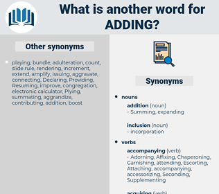 Adding, synonym Adding, another word for Adding, words like Adding, thesaurus Adding