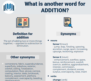 addition, synonym addition, another word for addition, words like addition, thesaurus addition