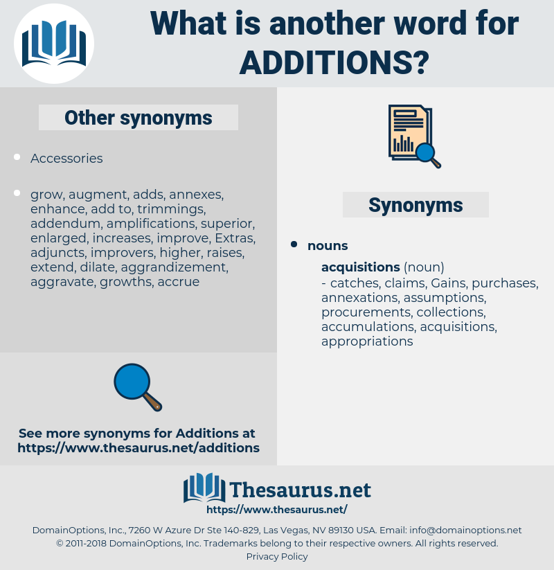 additions, synonym additions, another word for additions, words like additions, thesaurus additions