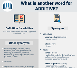 additive, synonym additive, another word for additive, words like additive, thesaurus additive