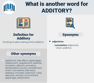 Additory, synonym Additory, another word for Additory, words like Additory, thesaurus Additory