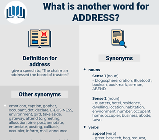address, synonym address, another word for address, words like address, thesaurus address