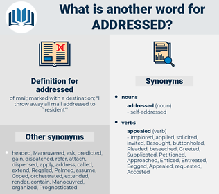 addressed, synonym addressed, another word for addressed, words like addressed, thesaurus addressed