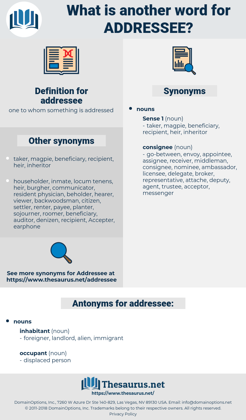 addressee, synonym addressee, another word for addressee, words like addressee, thesaurus addressee