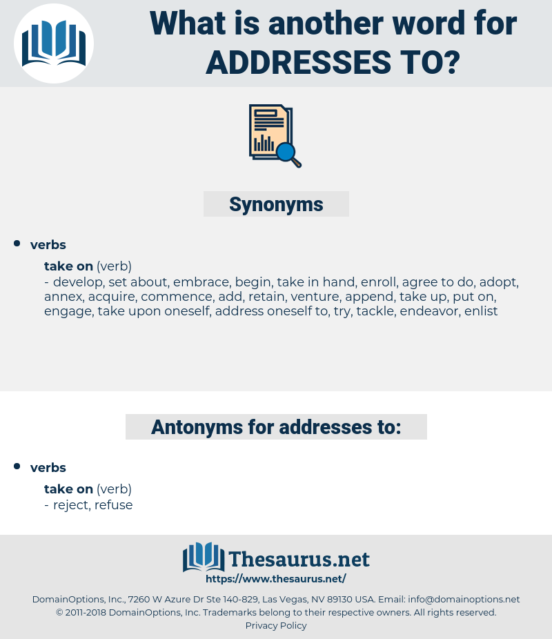 addresses to, synonym addresses to, another word for addresses to, words like addresses to, thesaurus addresses to