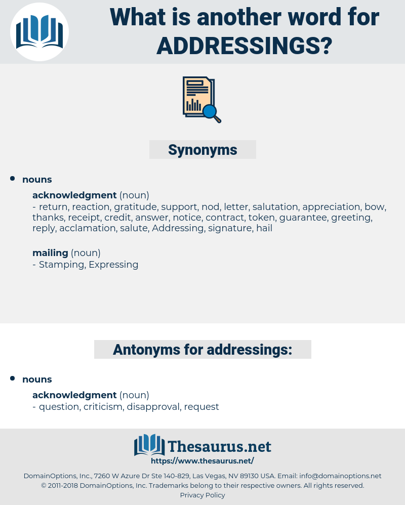 addressings, synonym addressings, another word for addressings, words like addressings, thesaurus addressings