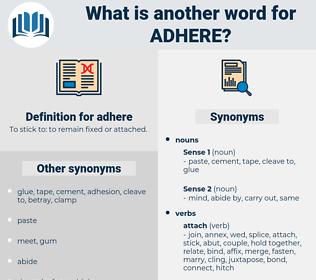 adhere, synonym adhere, another word for adhere, words like adhere, thesaurus adhere