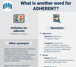adherent, synonym adherent, another word for adherent, words like adherent, thesaurus adherent