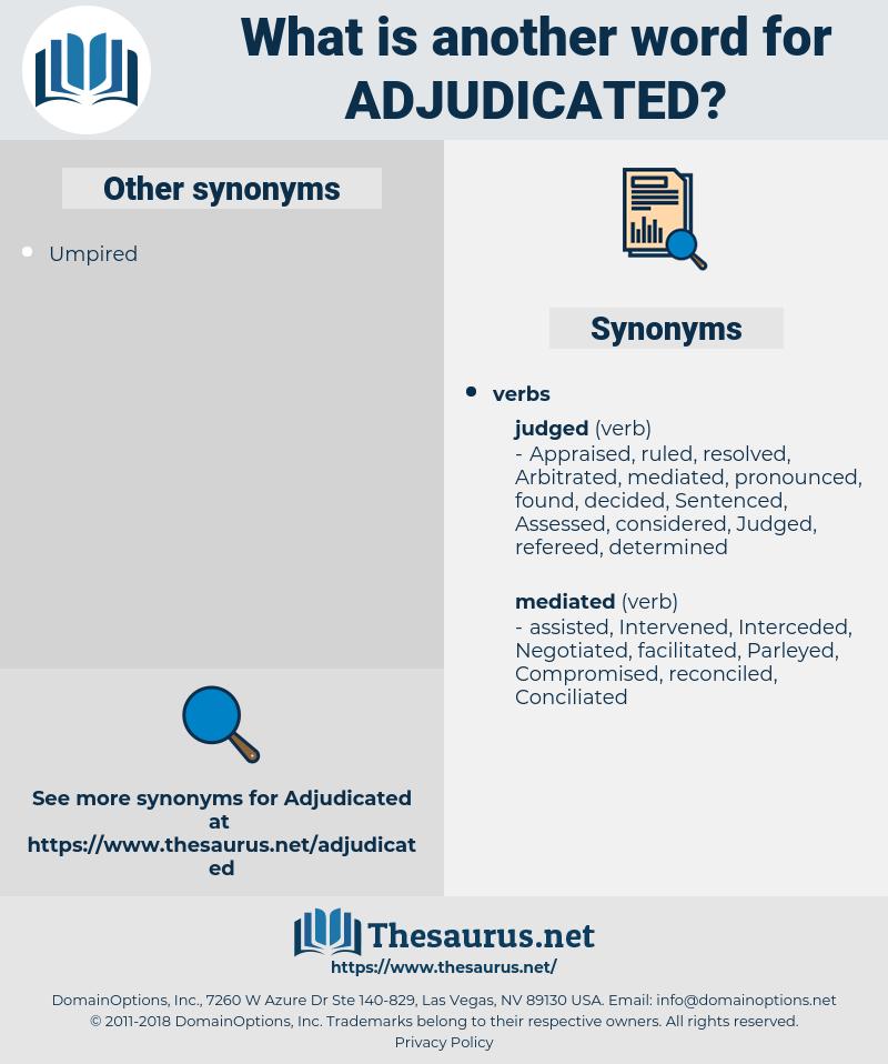 Adjudicated, synonym Adjudicated, another word for Adjudicated, words like Adjudicated, thesaurus Adjudicated