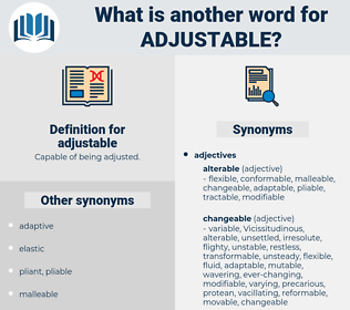 adjustable, synonym adjustable, another word for adjustable, words like adjustable, thesaurus adjustable