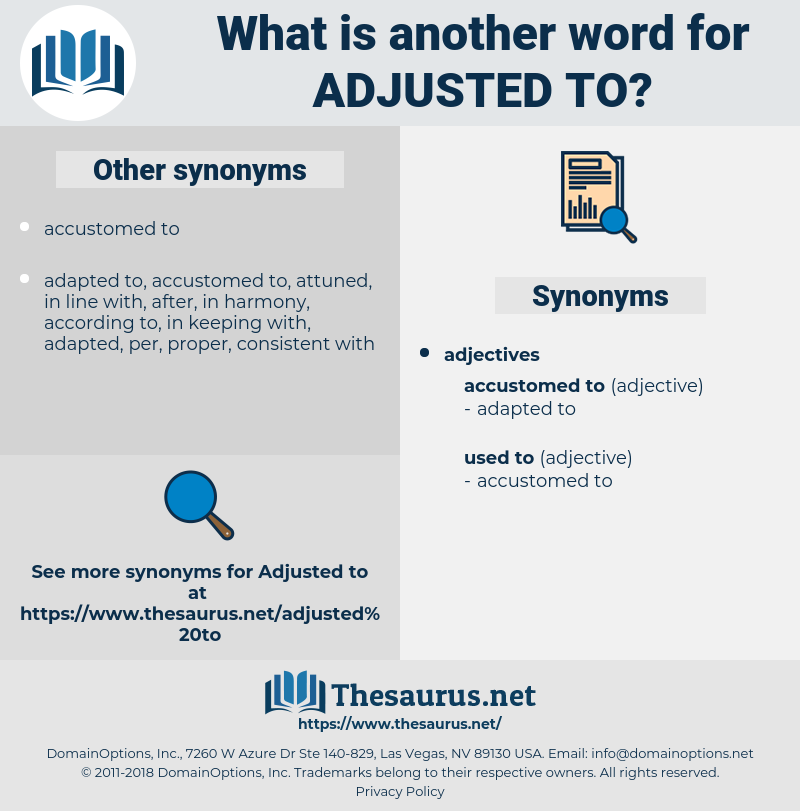 adjusted to, synonym adjusted to, another word for adjusted to, words like adjusted to, thesaurus adjusted to