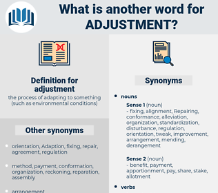 adjustment, synonym adjustment, another word for adjustment, words like adjustment, thesaurus adjustment