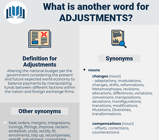 Adjustments, synonym Adjustments, another word for Adjustments, words like Adjustments, thesaurus Adjustments
