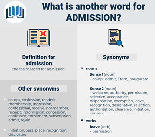 admission, synonym admission, another word for admission, words like admission, thesaurus admission