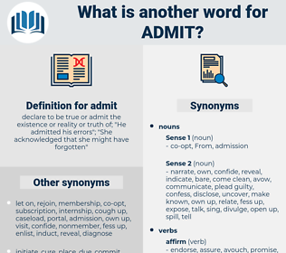 admit, synonym admit, another word for admit, words like admit, thesaurus admit