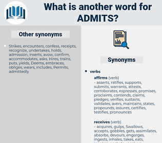 admits, synonym admits, another word for admits, words like admits, thesaurus admits
