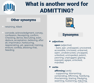 Admitting, synonym Admitting, another word for Admitting, words like Admitting, thesaurus Admitting
