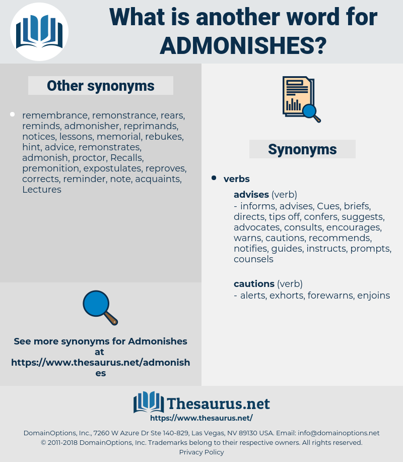admonishes, synonym admonishes, another word for admonishes, words like admonishes, thesaurus admonishes