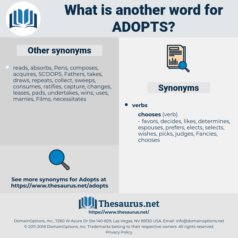 adopts, synonym adopts, another word for adopts, words like adopts, thesaurus adopts