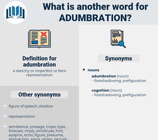 adumbration, synonym adumbration, another word for adumbration, words like adumbration, thesaurus adumbration
