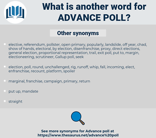 advance poll, synonym advance poll, another word for advance poll, words like advance poll, thesaurus advance poll