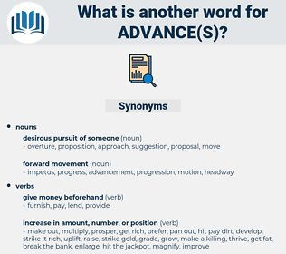 advance(s), synonym advance(s), another word for advance(s), words like advance(s), thesaurus advance(s)