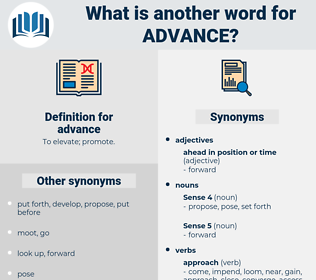 advance, synonym advance, another word for advance, words like advance, thesaurus advance