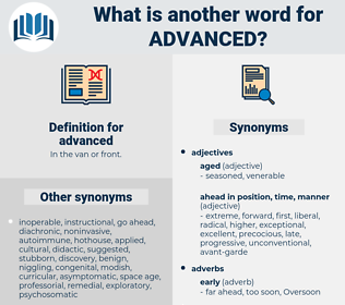 advanced, synonym advanced, another word for advanced, words like advanced, thesaurus advanced